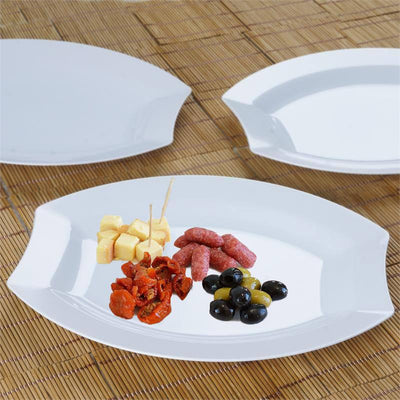 "10 Pack 11"" White Disposable Oval Crescent Rim Serving Plates"