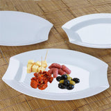 "10 Pack 11"" White Disposable Plastic Oval Crescent Rim Serving Plates"