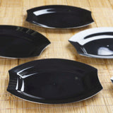 "10 Pack 11"" Black Disposable Plastic Oval Silver Edged Crescent Rim Serving Plates - Clearance SALE"