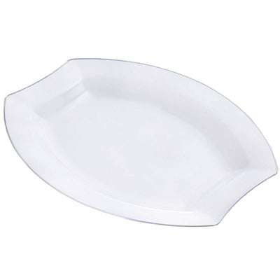 "10 Pack - Clear w/ Silver Edge 10.5"" Crescent Oval Shaped Disposable Plate - Chambury Plastics"