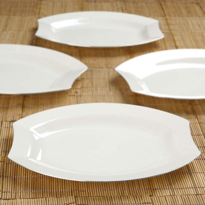 "10 Pack - Ivory w/ Silver Edge 10.5"" Crescent Oval Shaped Disposable Plate - Chambury Plastics"