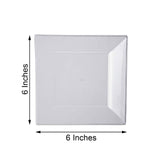 "10 Pack 6"" Clear Disposable Plastic Square Salad Dessert Plates"