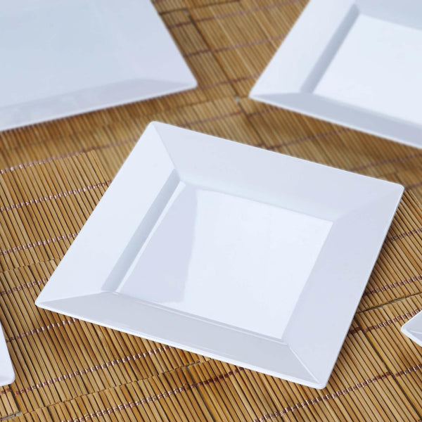 "10 Pack | 6"" White Disposable Plastic Square Salad Dessert Plates"
