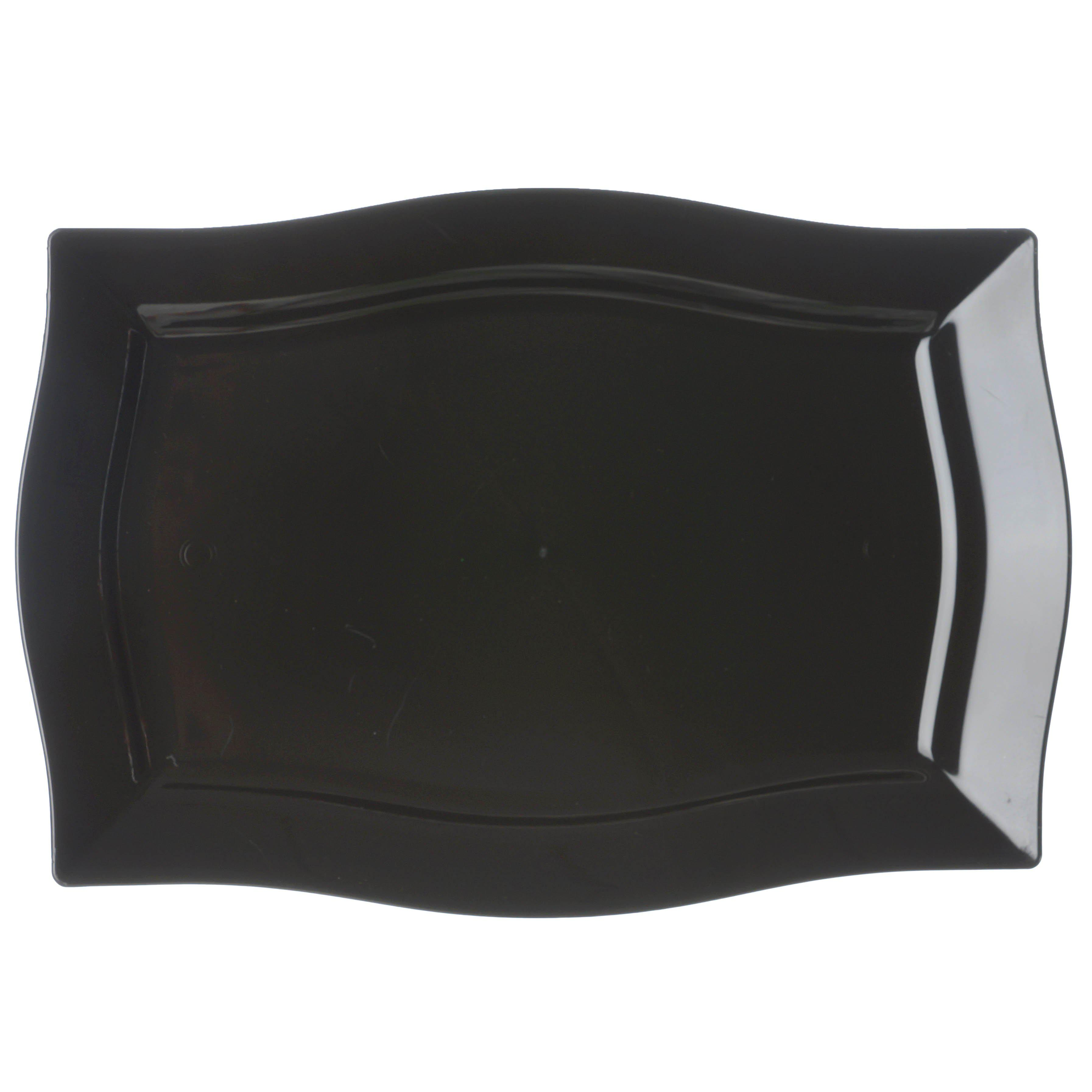 10 Pack 12 Black Disposable Rectangular Serving Plates With Wave Trimmed Rim Tableclothsfactory