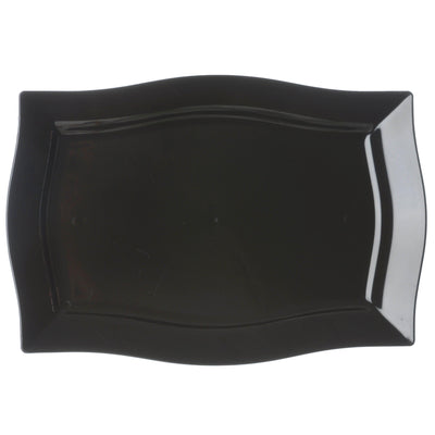 "10 Pack 12"" Black Disposable Rectangular Serving Plates With Wave Trimmed Rim"