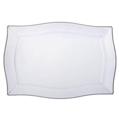 "10 Pack 12"" Clear Disposable Rectangular Serving Plates With Wave Trimmed Rim"