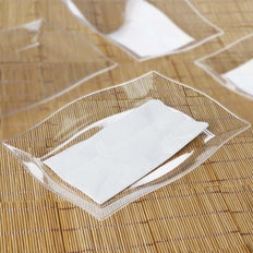 10 Pack 12 inch Clear Disposable Plastic Rectangular Serving Plates With Wave Trimmed Rim