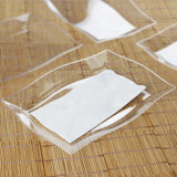 "10 Pack 12"" Clear Disposable Plastic Rectangular Serving Plates With Wave Trimmed Rim"