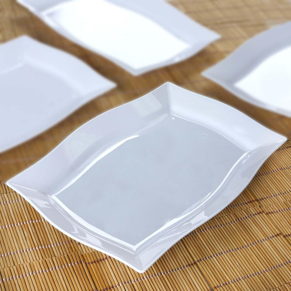 "10 Pack 12"" White Disposable Plastic Rectangular Serving Plates With Wave Trimmed Rim"