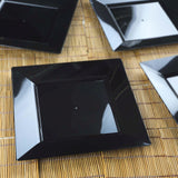 "10 Pack - Black 8"" Square Disposable Plate - Chambury Plastics"