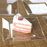 "10 Pack 8"" Clear Disposable Square Salad Dessert Plates"