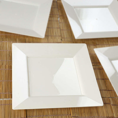 "10 Pack - Ivory 8"" Square Disposable Plate - Chambury Plastics"