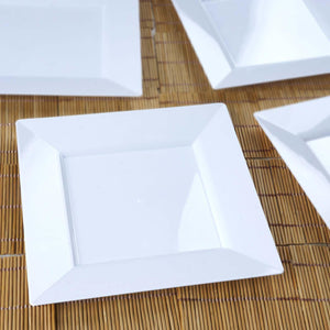 "10 Pack 8"" White Disposable Square Salad Dessert Plates"
