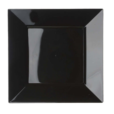 "10 Pack 10"" Black Disposable Square Dinner Plates"