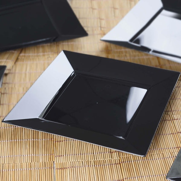"10 Pack | 9"" Black Disposable Plastic Square Dinner Plates"