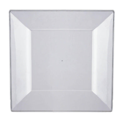 "10 Pack - Clear 9.5"" Square Disposable Plate - Chambury Plastics"