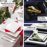 "10 Pack | 10"" White Disposable Plastic Square Dinner Plates"