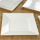 "10 Pack 11"" Ivory Disposable Square Dinner Plates"