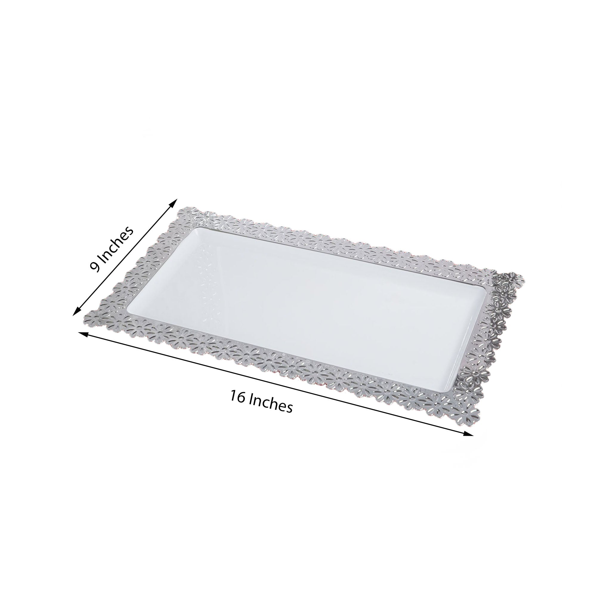 4 Pack 16 White Disposable Serving Tray With Silver Floral Edge Tableclothsfactory