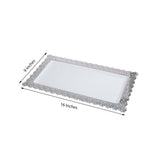 4 Pack 16 inches White Disposable Plastic Serving Tray With Silver Floral Edge