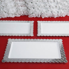 "4 Pack 16"" White Disposable Plastic Serving Tray With Silver Floral Edge"