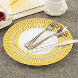 White Disposable Plastic Salad Plate With Gold Checkered Rim, Plastic Dinnerware