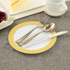"10 Pack 8"" White Round Disposable Plastic Salad Dessert Plates With Gold Hot Stamped Checkered Rim"