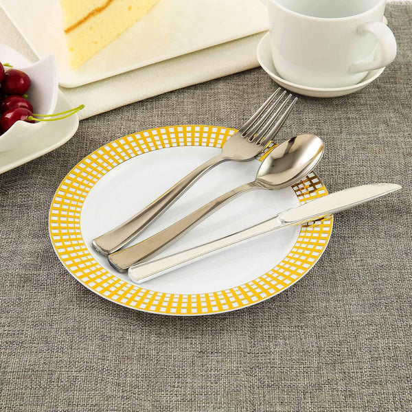 "10 Pack | 8"" White Round Disposable Plastic Salad Dessert Plates With Gold Hot Stamped Checkered Rim - Clearance SALE"