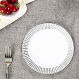"10 Pack 8"" White Disposable Round Salad Dessert Plates With Silver Hot Stamped Rim"