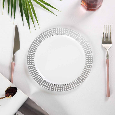 White Disposable Plastic Salad Plate With Silver Checkered Rim, Plastic Dinnerware