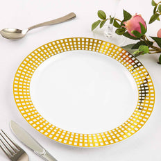 10 Pack 10 inch White Round Disposable Plastic Dinner Plates With Gold Hot Stamped Checkered Rim