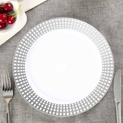 "10 Pack 10"" White Round Disposable Plastic Dinner Plates With Silver Hot Stamped Checkered Rim"