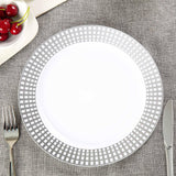 "10 Pack 10"" White Disposable Round Dinner Plates With Silver Hot Stamped Rim"