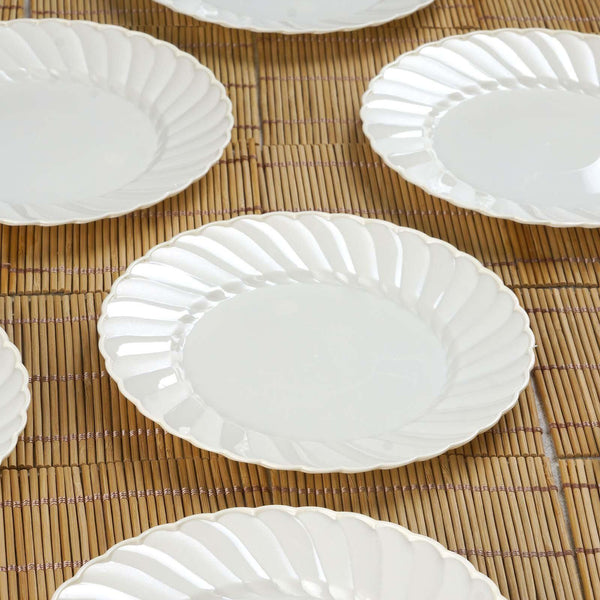 "12 Pack | 6"" Ivory Flared Round Disposable Plastic Salad Dessert Plates"