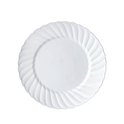 "12 Pack 6"" White Disposable Flared Round Salad Dessert Plates"