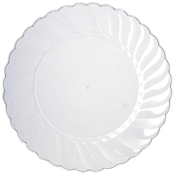 10 Pack 10  Clear Disposable Flared Round Dinner Plates  sc 1 st  Tablecloths Factory & 10 Pack 10