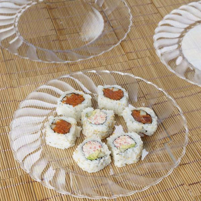 "10 Pack 10"" Clear Disposable Flared Round Dinner Plates"