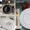 "10 Pack | 10"" White Flared Round Disposable Plastic Dinner Plates"