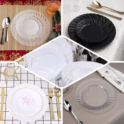"12 Pack | 6"" Black Flared Round Disposable Plastic Salad Dessert Plates"