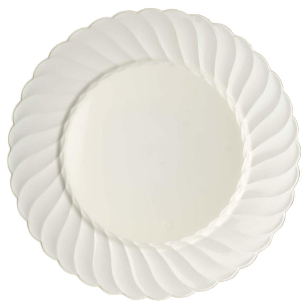 "10 Pack | 10"" Ivory Flared Round Disposable Plastic Dinner Plates"