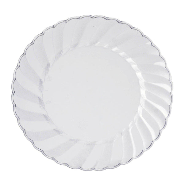 "12 Pack | 8"" Clear Swirl Disposable Plastic Plates 