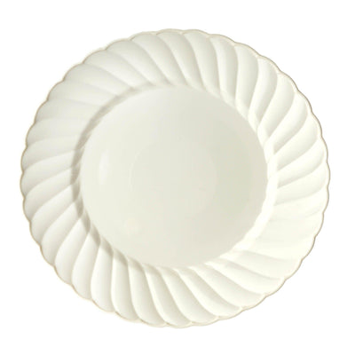 "12 Pack 8"" Ivory Disposable Flared Round Salad Dessert Plates"