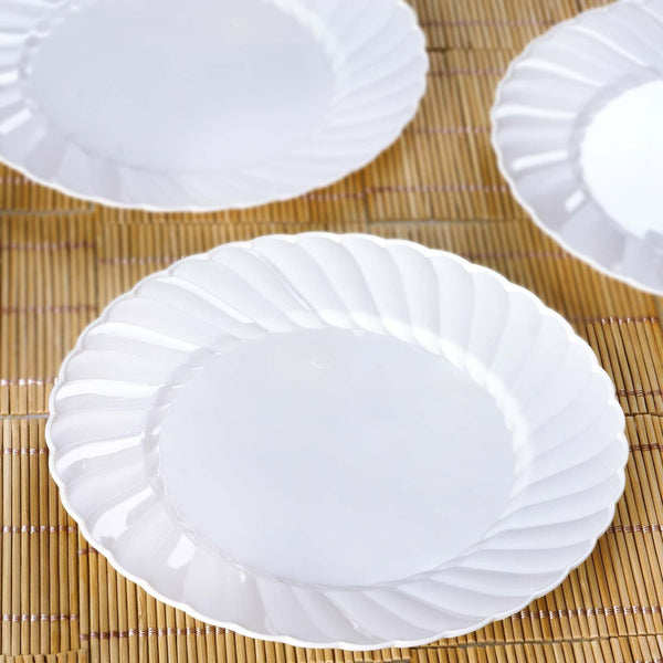 "12 Pack | 8"" White Swirl Disposable Plastic Plates 