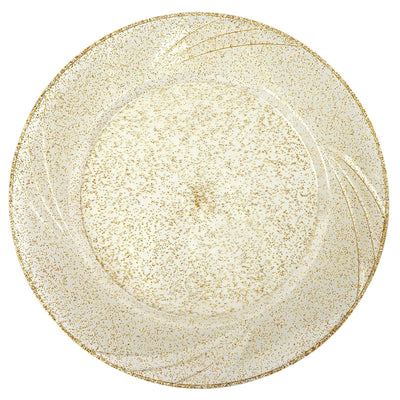 Clear Plastic Plates with Gold Glitter, Plastic Dinner Plates, Party Plates