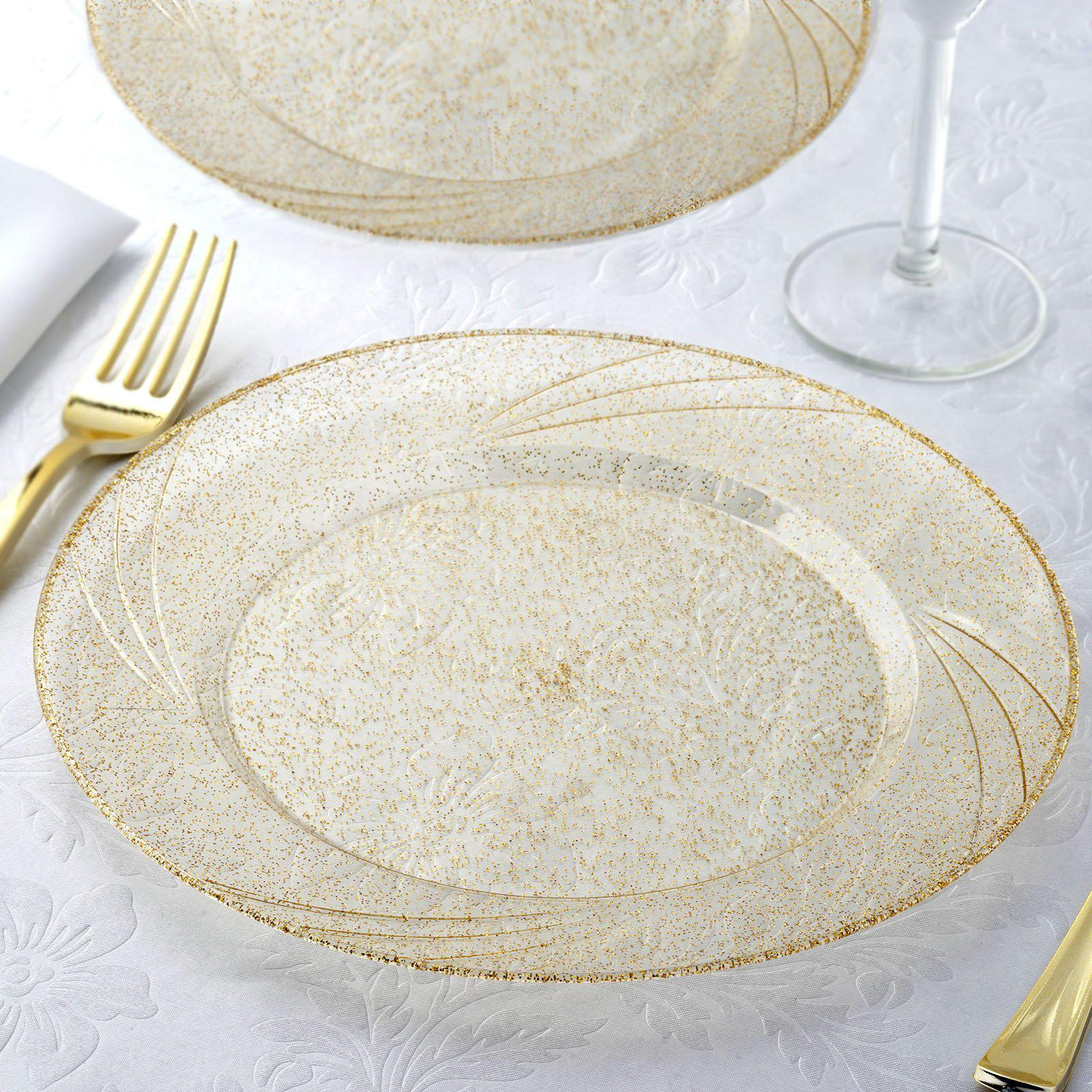 12 Pack 9\  Disposable Gold Dust Round Dinner Plates With Shiny Gold Rim & 12 Pack 9\