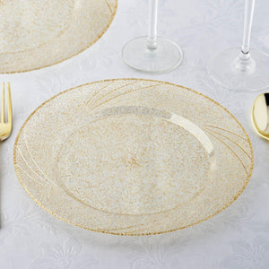 "12 Pack 9"" Disposable Gold Dust Round Dinner Plates With Shiny Gold Rim"