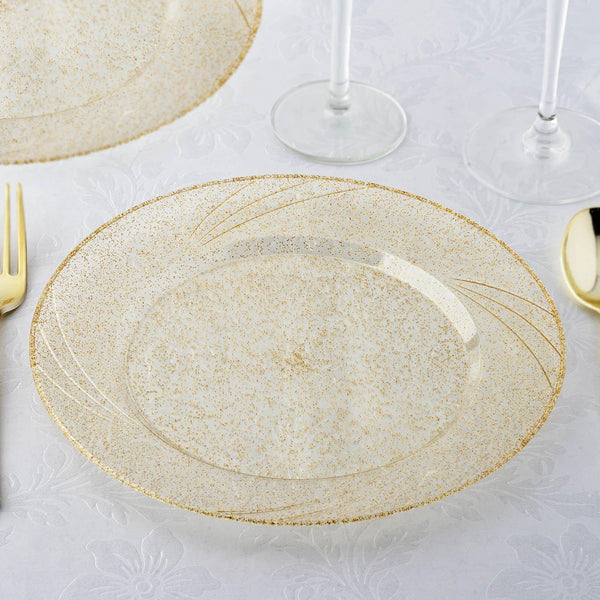 "12 Pack | 9"" Gold Glitter Round Disposable Plastic Dinner Plates With Shiny Gold Rim"