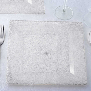"12 Pack 10"" Disposable Silver Dust Square Dinner Plates With Shiny Silver Rim"