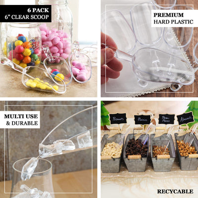 "6 Pack | 6"" Clear Plastic Scoop 