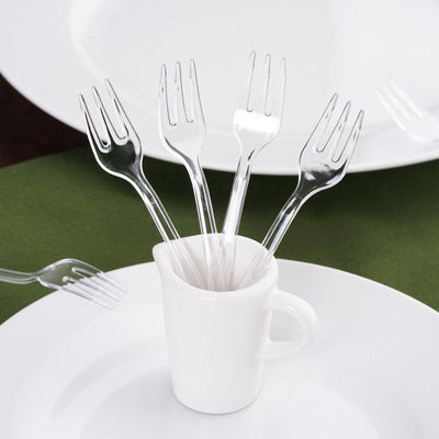 "36 Pcs 4"" Clear Chambury Plastic Disposable Cake Dessert Forks"